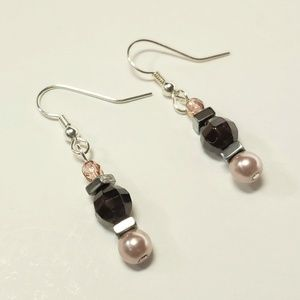 Garnet and Blush Faux Pearl Earrings (3 for $18)